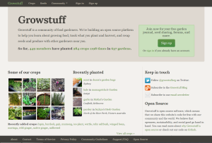 Image showing the front page of the Growstuff website including the about text, crop picture grid, members, plantings and open source information.