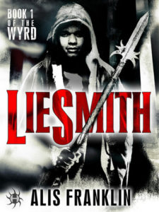 Black and white cover with dark-skinned protagonist in a hoodie with a magical looking staff in hand. Title of 'Liesmith' is in red