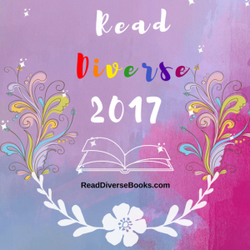 Banner with purple-pink rainbow art with flowers and flourishes and a book, tex treads Read Diverse 2017 where diverse is in rainbow colours.