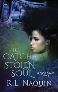 Female non-white protagonist with dark hair in profile on the right side of the book, looking over her shoulder. Background is turquoise/blue and the title text is in a highlighted blue.