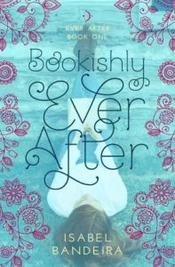 Pale blue book cover with flowery font text for the title and author name, there is a silhouette of female figure in a white dress blurred in the background and pink curlicue flowers surround the text and the blurry figure.
