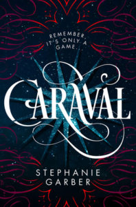 A dark blue cover with white text, and a flourished font for the title Caraval. There is a multipointed star behind the title and it is surrounded by red artistic flourishes around the title and author name.