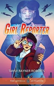 The female protagonist with a hat, purple hair and glasses poses with her phone with the shadow of her famous reporter mother in the background.