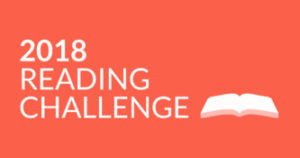 Orange-red banner image with picture of a book in white and the text 2018 Goodreads Reading Challenge