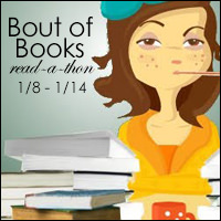 Bout of Books button with determined woman in yellow looking tired and surrounded by books.