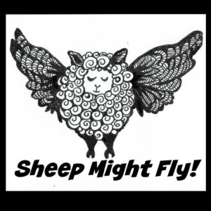 A black and white image of a flying sheep with lots of textured detail in the wool and wings, the sheep looks peaceful.
