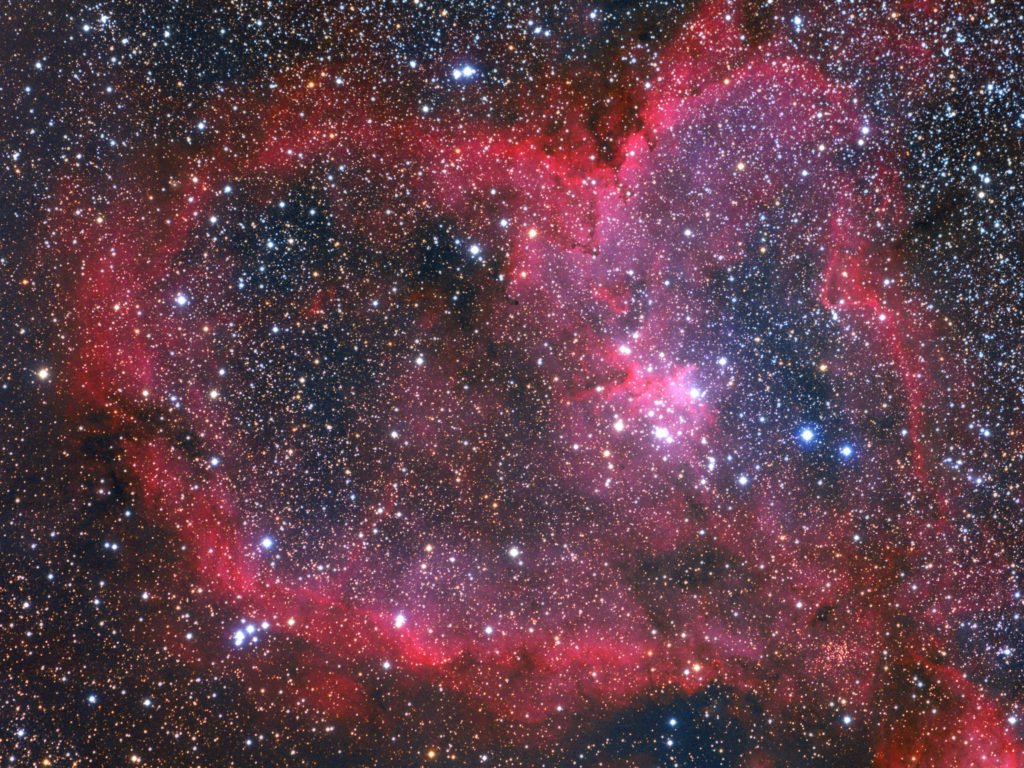 A space scape of the heart nebula, coloured in gorgeous red hues with bright stars. The image is by Robert Franke.