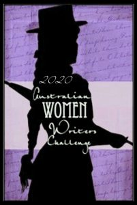Australian Women Writers Challenge badge for 2020, purple background with black silhouette of a woman in a hat in a frock with an umbrella. White text overlaying with the title of the challenge.
